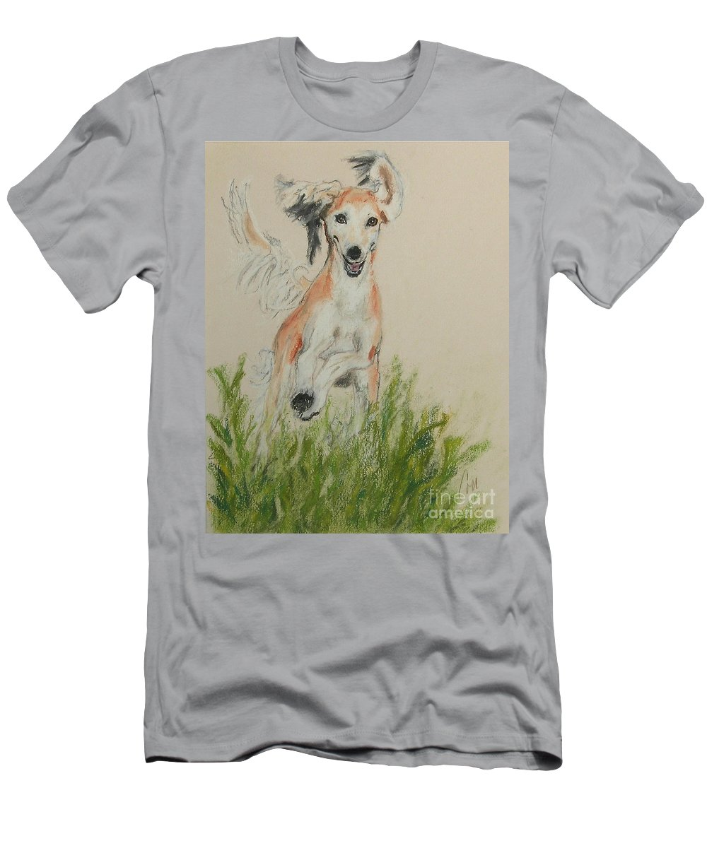 Saluki Men's T-Shirt (Athletic Fit) featuring the drawing Pheret by Cori Solomon