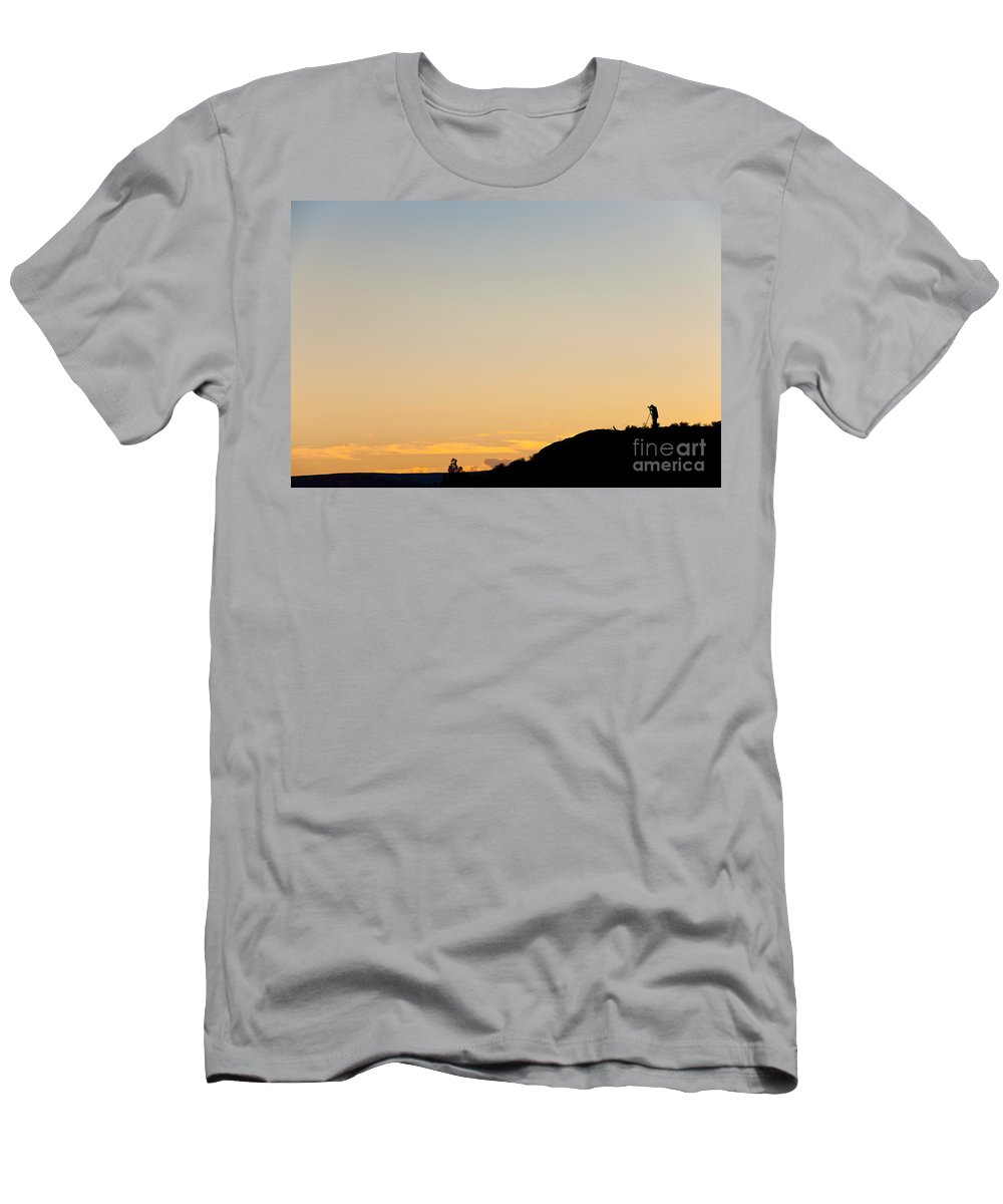 Nature Men's T-Shirt (Athletic Fit) featuring the photograph Photographer Silhouetted At Sunset by John Shaw