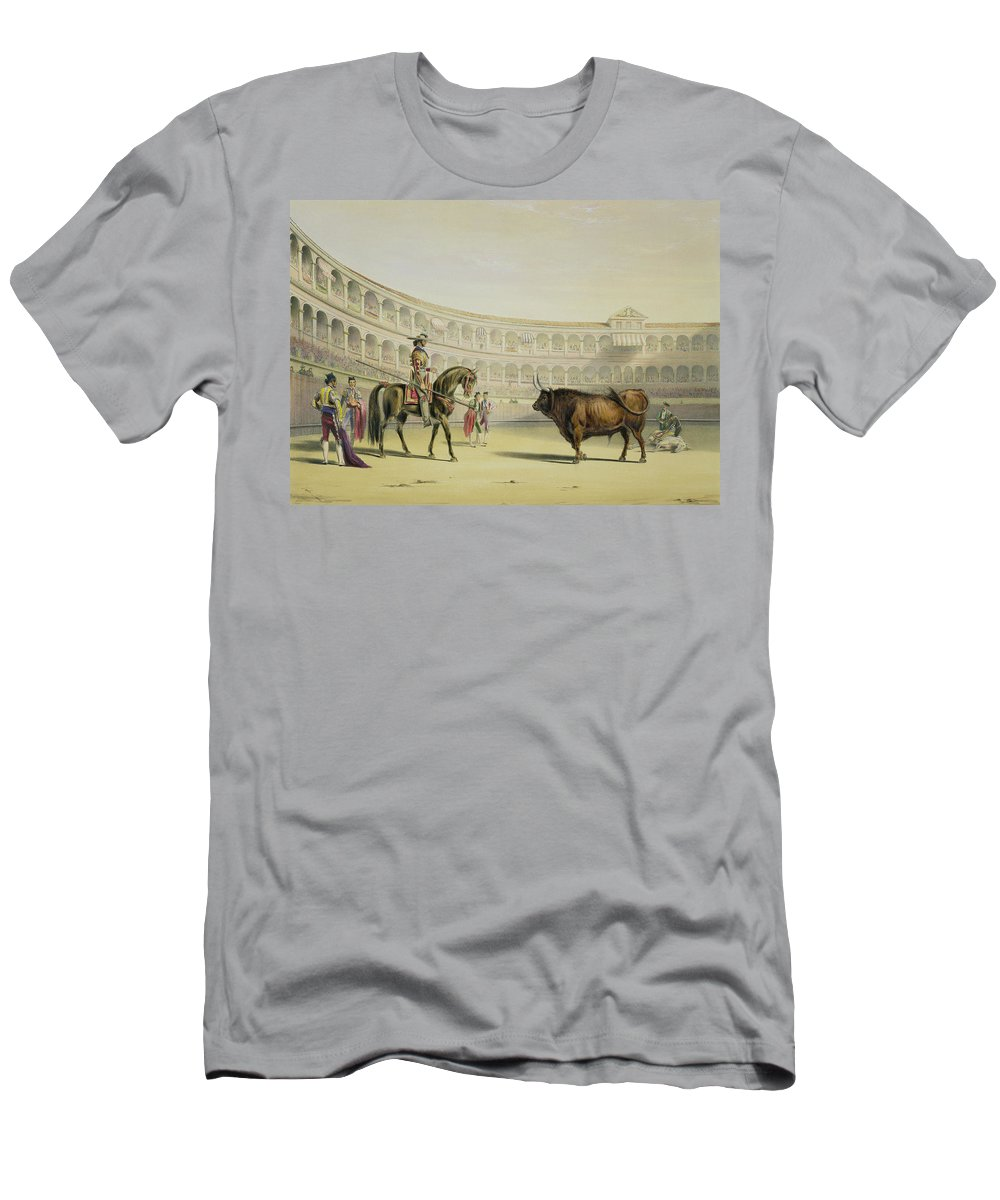 Mounted Bullfighter Men's T-Shirt (Athletic Fit) featuring the drawing Picador Challenging The Bull, 1865 by William Henry Lake Price