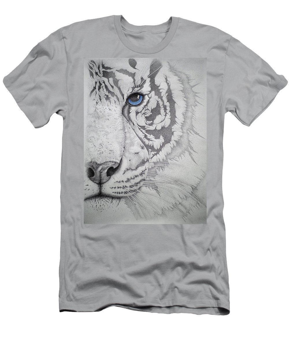 Tigers Paintings Men's T-Shirt (Athletic Fit) featuring the drawing Piercing II by Mayhem Mediums