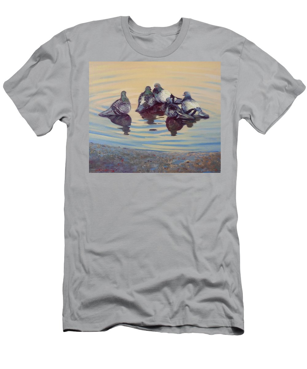 Pigeons Men's T-Shirt (Athletic Fit) featuring the painting Pigeon Talk by Dianne Panarelli Miller
