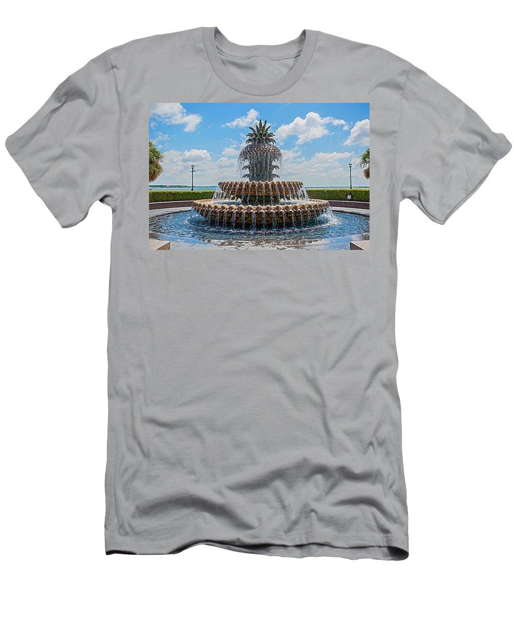 Landscape Men's T-Shirt (Athletic Fit) featuring the photograph Pineapple Fountain by Sennie Pierson