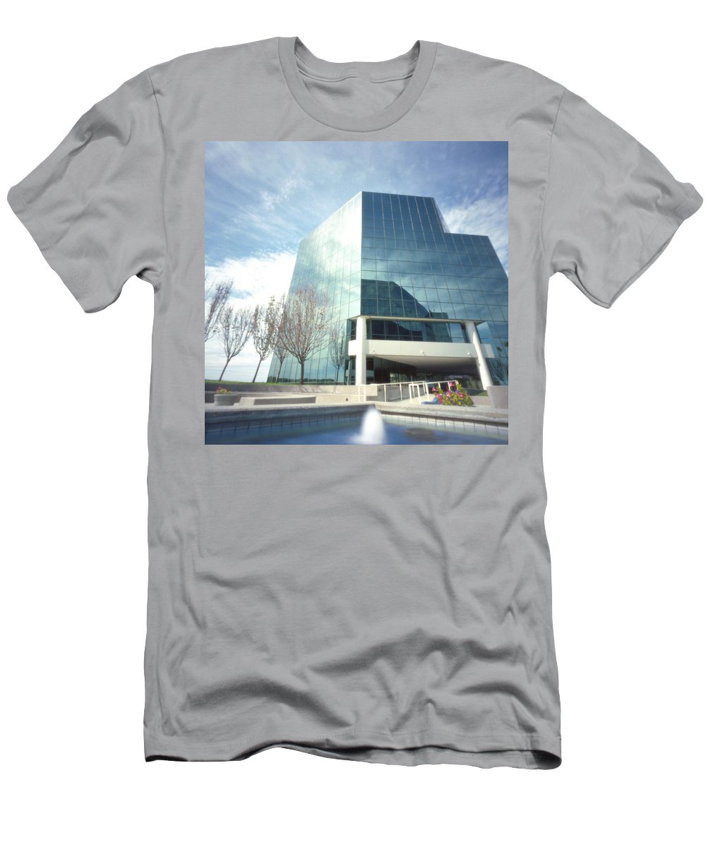 Pinhole Men's T-Shirt (Athletic Fit) featuring the photograph Pinhole Office Building by Hugh Smith