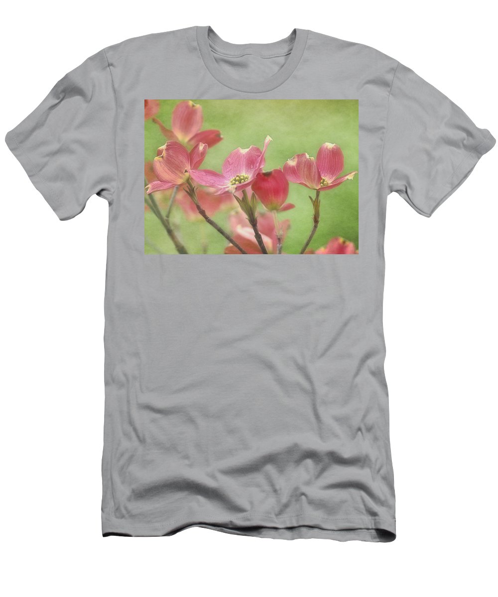 Pink Dogwood Blossoms Men's T-Shirt (Athletic Fit) featuring the photograph Pink Dogwood by Mel Hensley