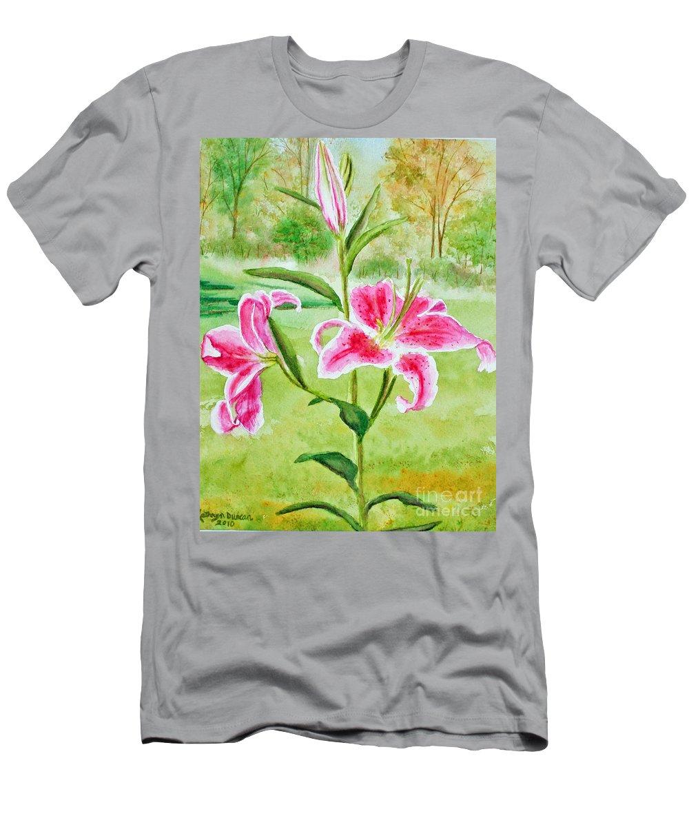 Pink Oriental Lillies Men's T-Shirt (Athletic Fit) featuring the painting Pink Oriental Lillies by Kathryn Duncan