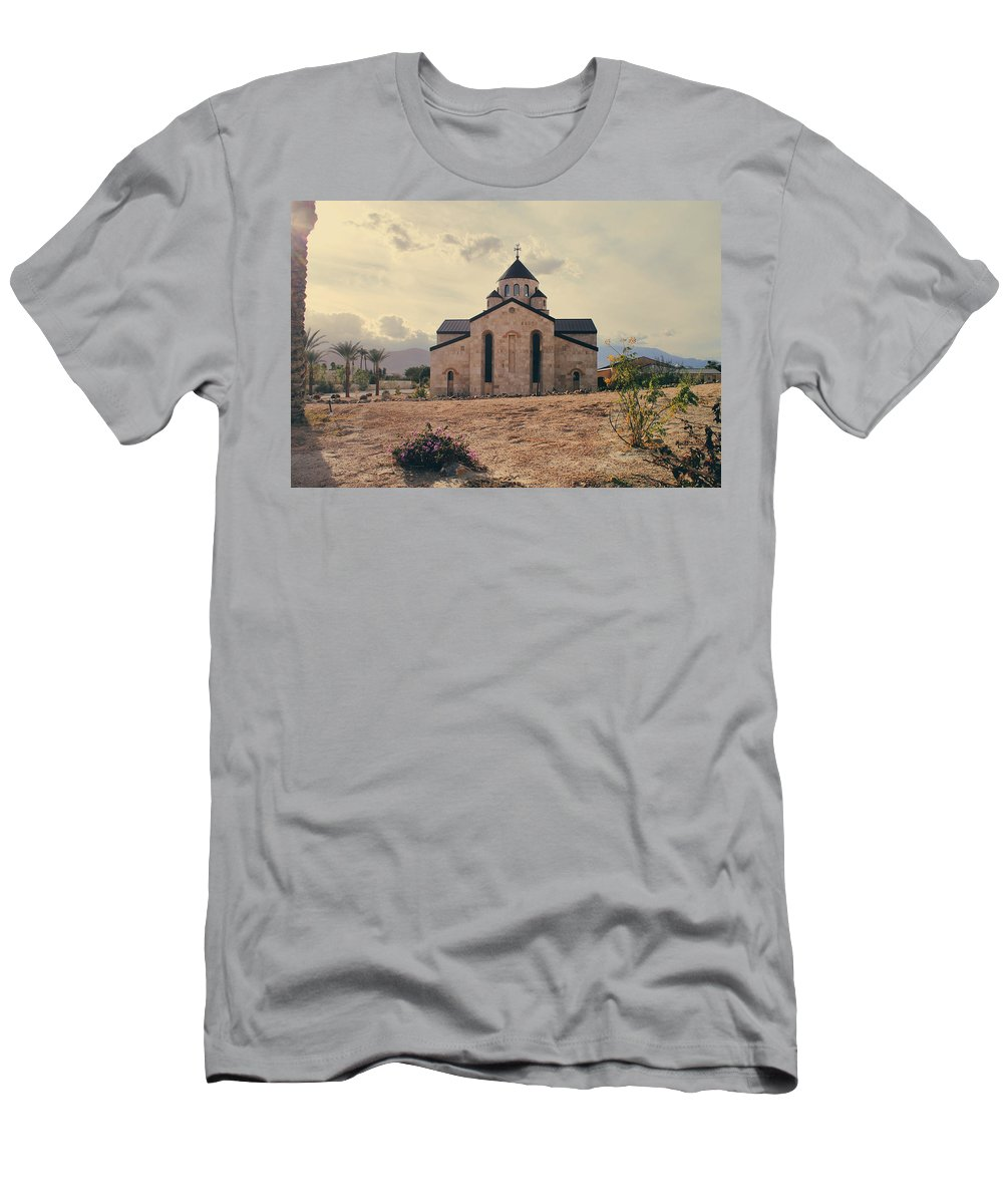Palm Desert Men's T-Shirt (Athletic Fit) featuring the photograph Place Of Worship by Laurie Search