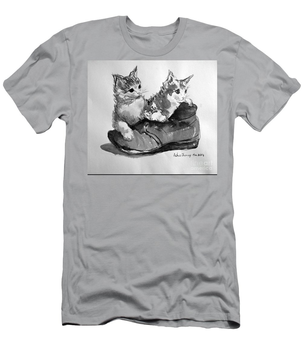 Kittens Men's T-Shirt (Athletic Fit) featuring the painting Playful Kittens by Asha Sudhaker Shenoy