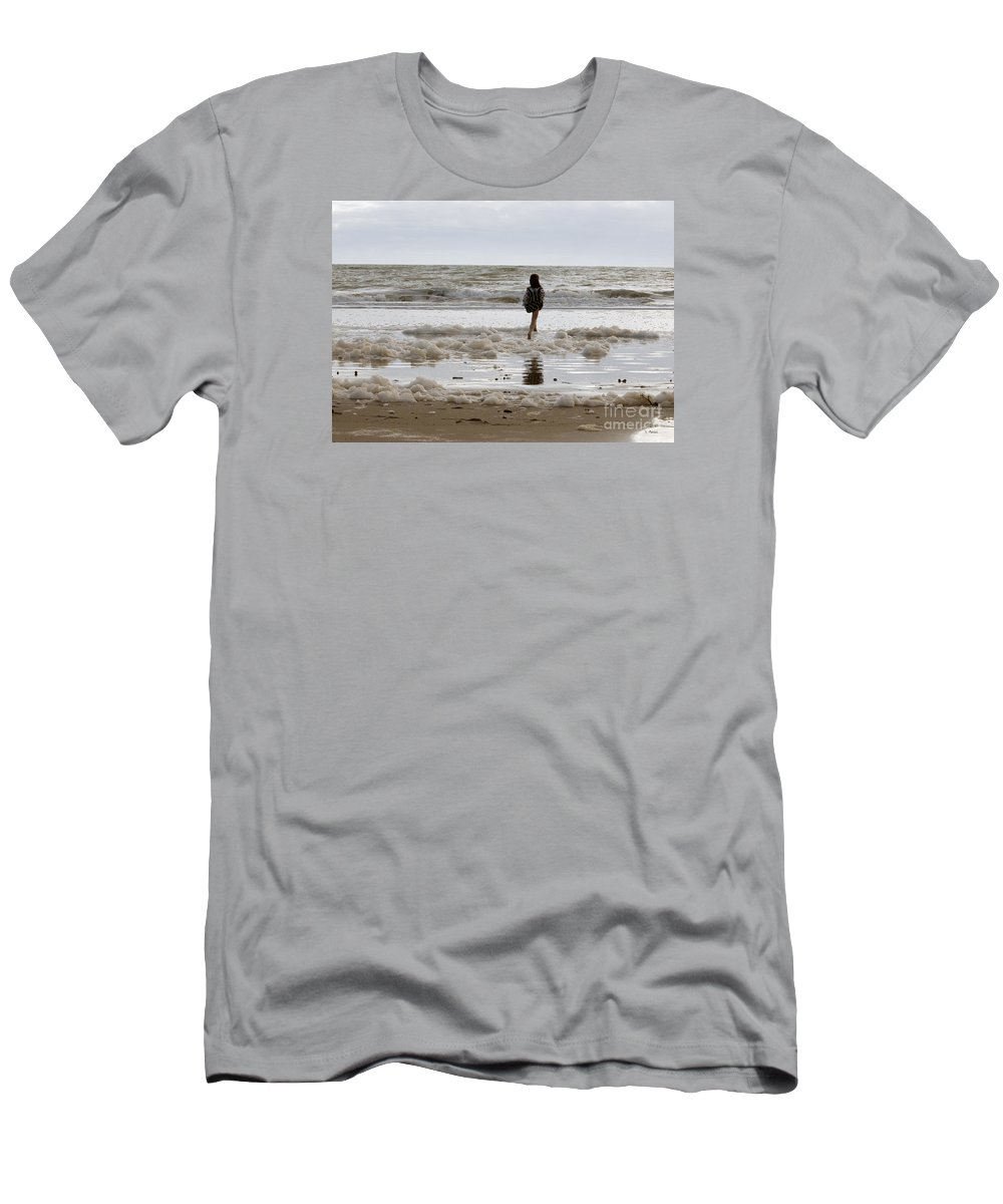 Girl Men's T-Shirt (Athletic Fit) featuring the photograph Girl Playing In Sea Foam by Haleh Mahbod