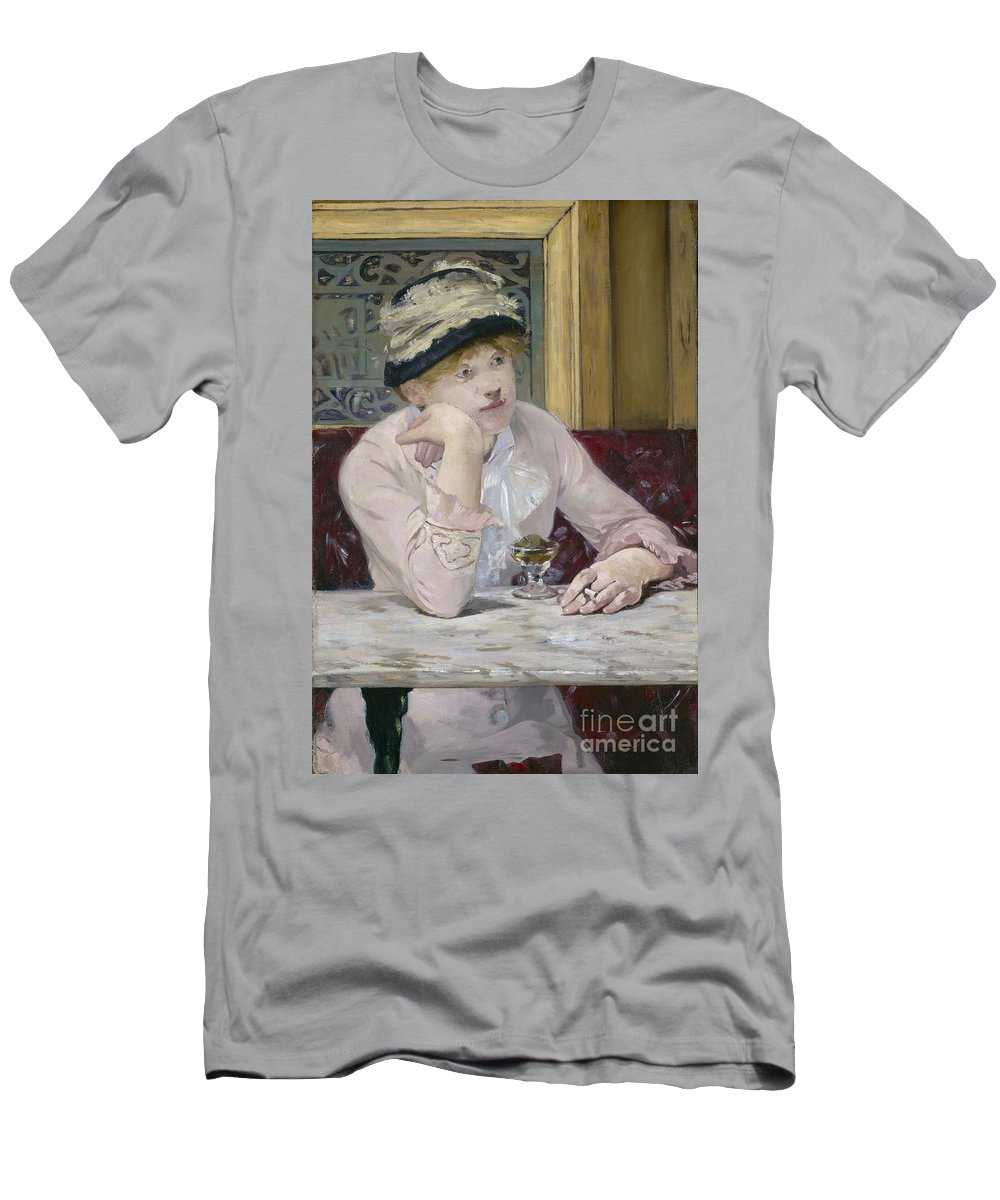 Pensive; Smoking; Cafe; Dreaming; Soaked; Brandy; Cigarette; Hat; Impressionist; Woman; La; Prune; 1878 Men's T-Shirt (Athletic Fit) featuring the painting Plum Brandy by Edouard Manet