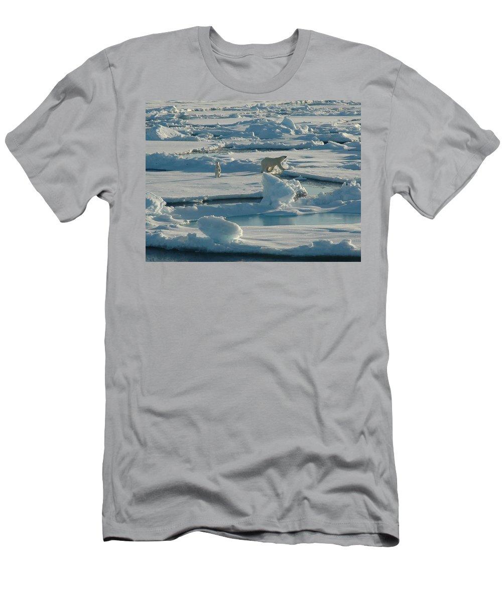 Polar Bear And Her Cub Men's T-Shirt (Athletic Fit) featuring the digital art Polar Bear And Her Cub by Kelley Elliott