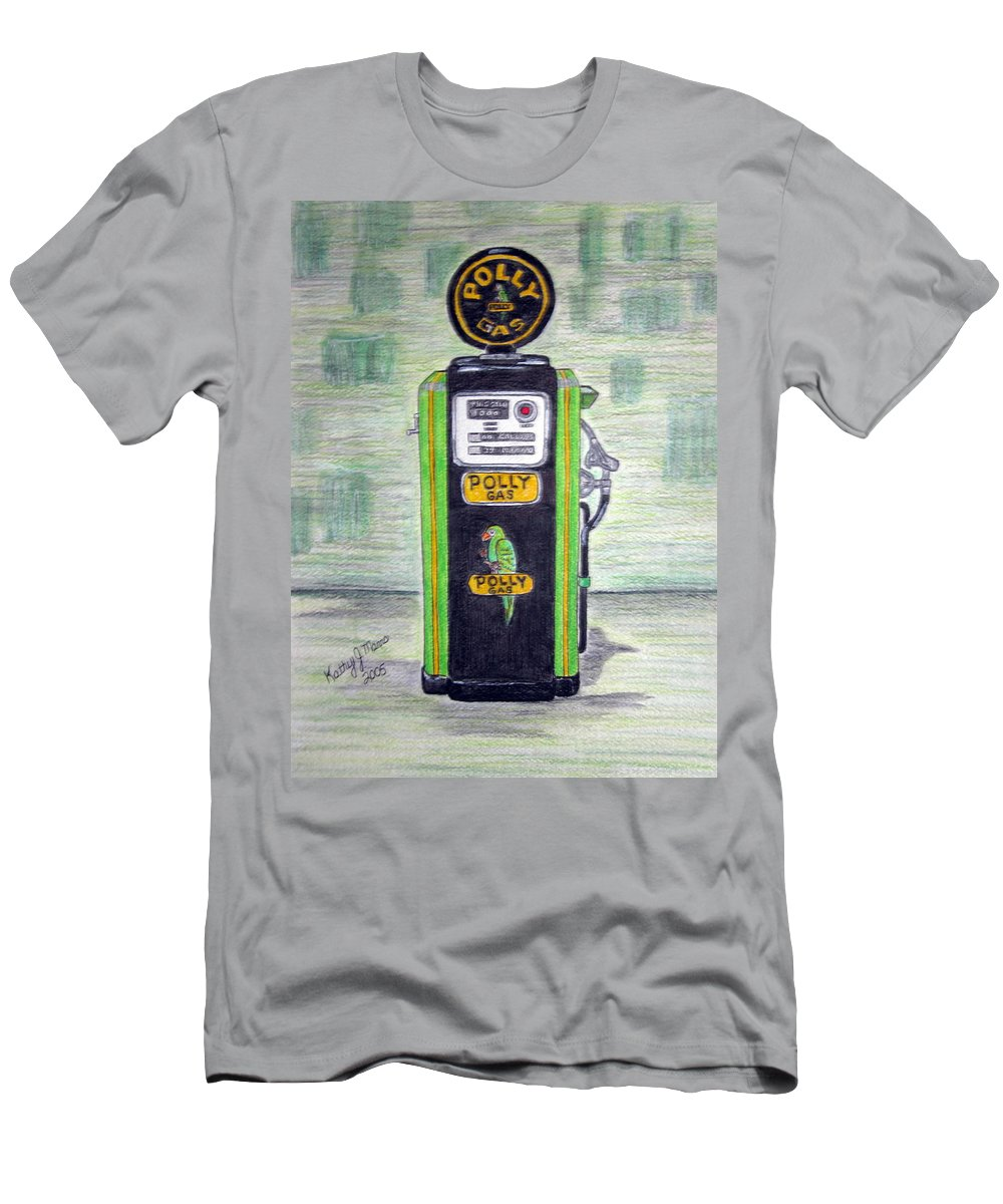 Parrot Men's T-Shirt (Athletic Fit) featuring the painting Polly Gas Pump by Kathy Marrs Chandler