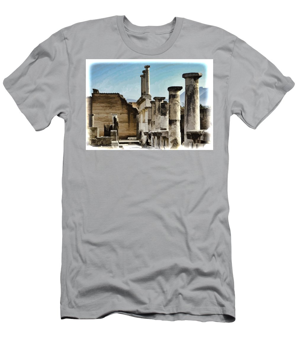 Pompeii Men's T-Shirt (Athletic Fit) featuring the photograph Pompei Ruins by Jon Berghoff