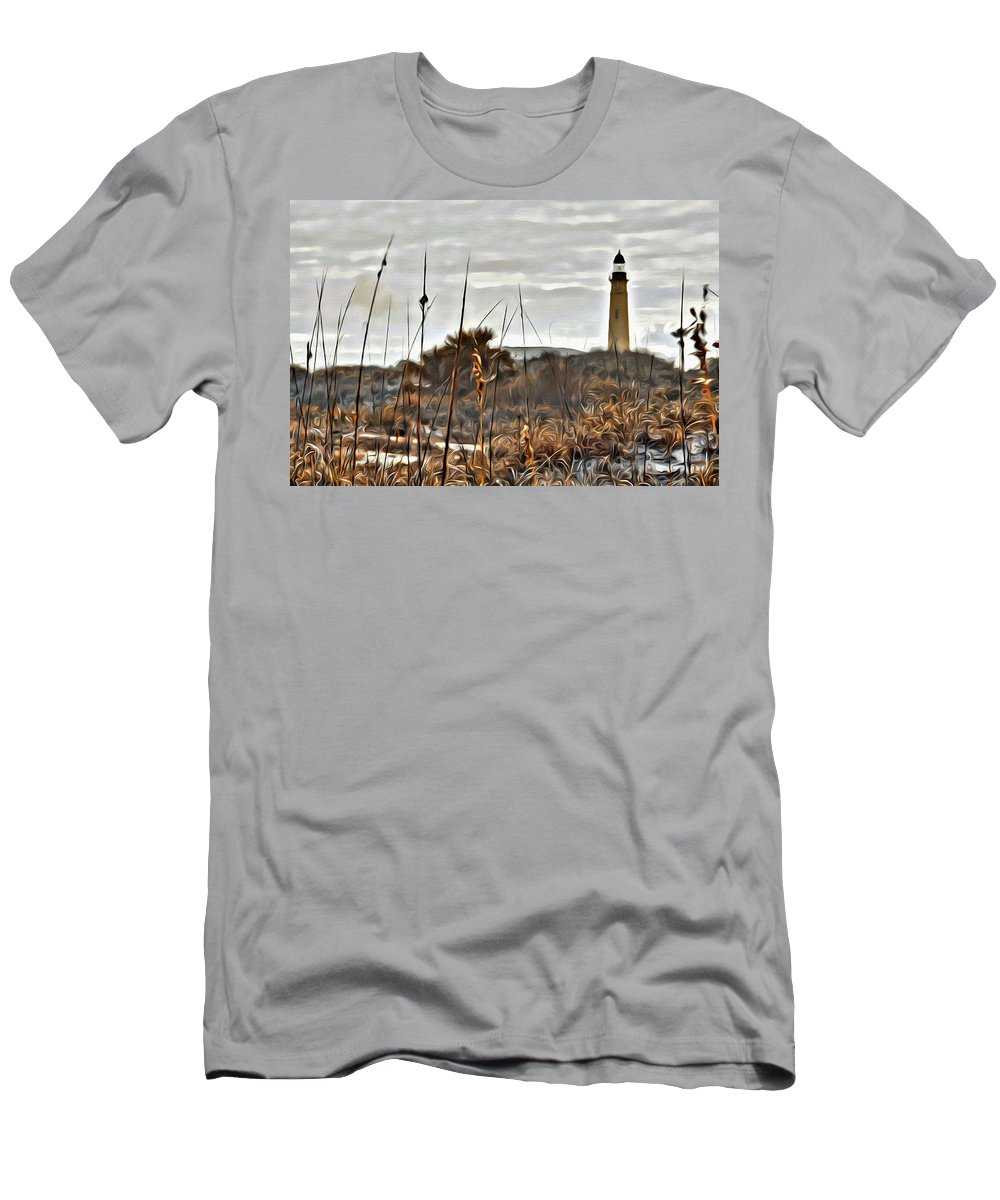 Lighthouse Ponce Inlet Florida Dunes Scenic Men's T-Shirt (Athletic Fit) featuring the photograph Ponce Inlet Lighthouse From The Dunes by Alice Gipson