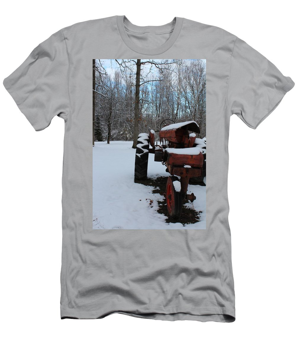 Tractor Men's T-Shirt (Athletic Fit) featuring the photograph Poor Allis Chalmers by Stephanie Kripa