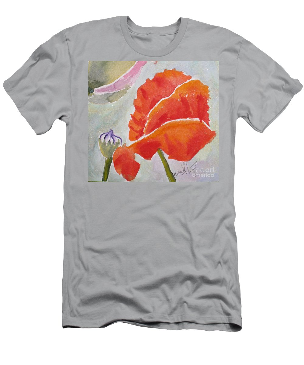 Poppies Men's T-Shirt (Athletic Fit) featuring the painting Poppies 1 by Mohamed Hirji
