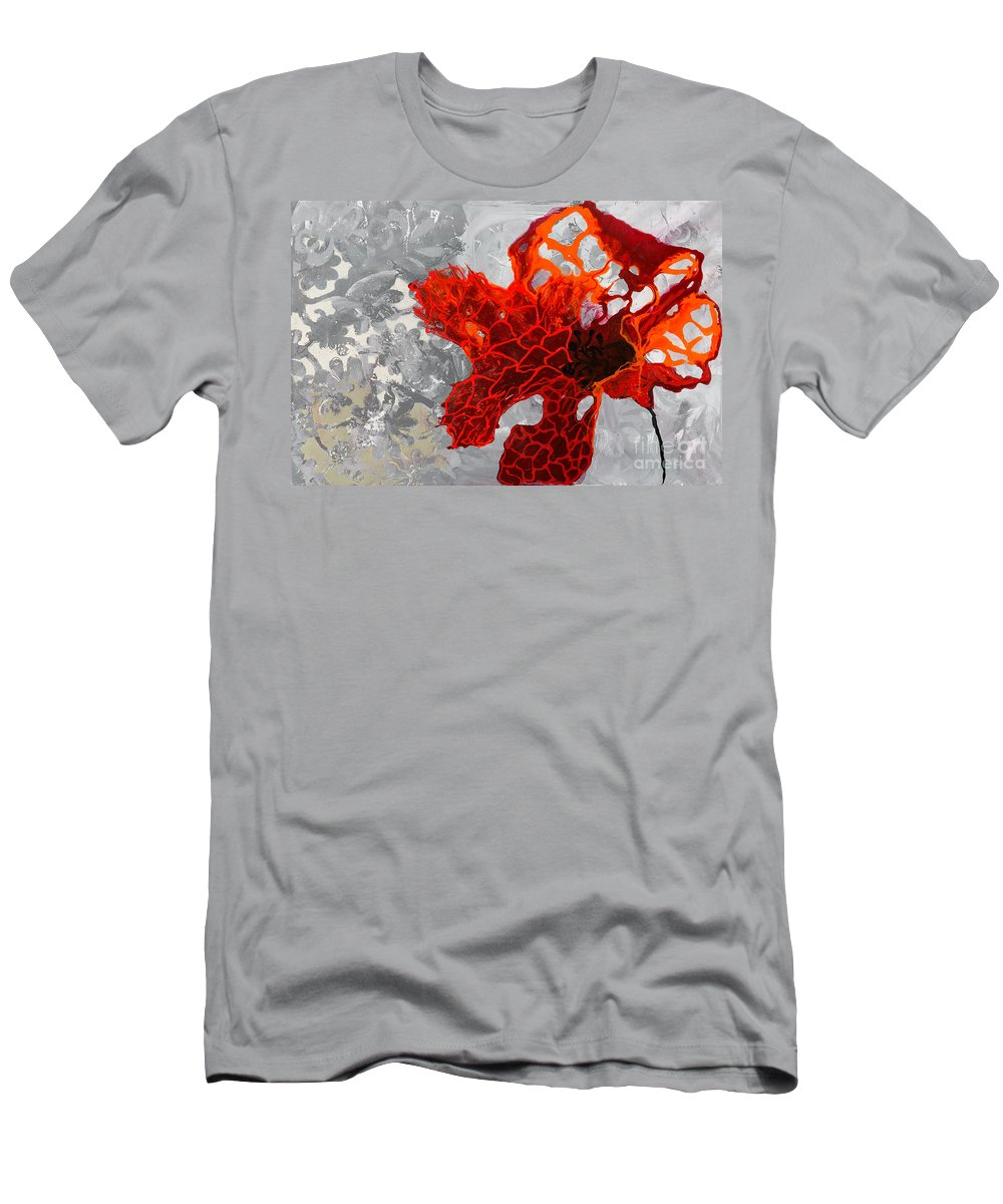 Poppy Men's T-Shirt (Athletic Fit) featuring the painting Poppy 48 by Sheila McPhee
