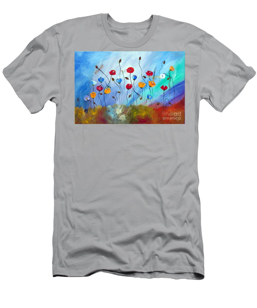 Poppy Men's T-Shirt (Athletic Fit) featuring the painting Poppy And Dragonfly by To-Tam Gerwe