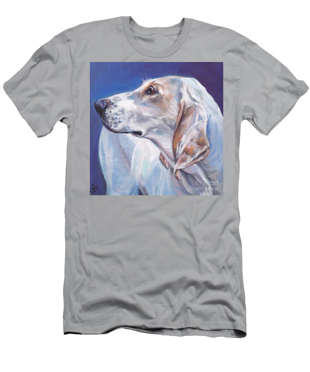 Porcelaine Men's T-Shirt (Athletic Fit) featuring the painting Porcelaine Hound by Lee Ann Shepard