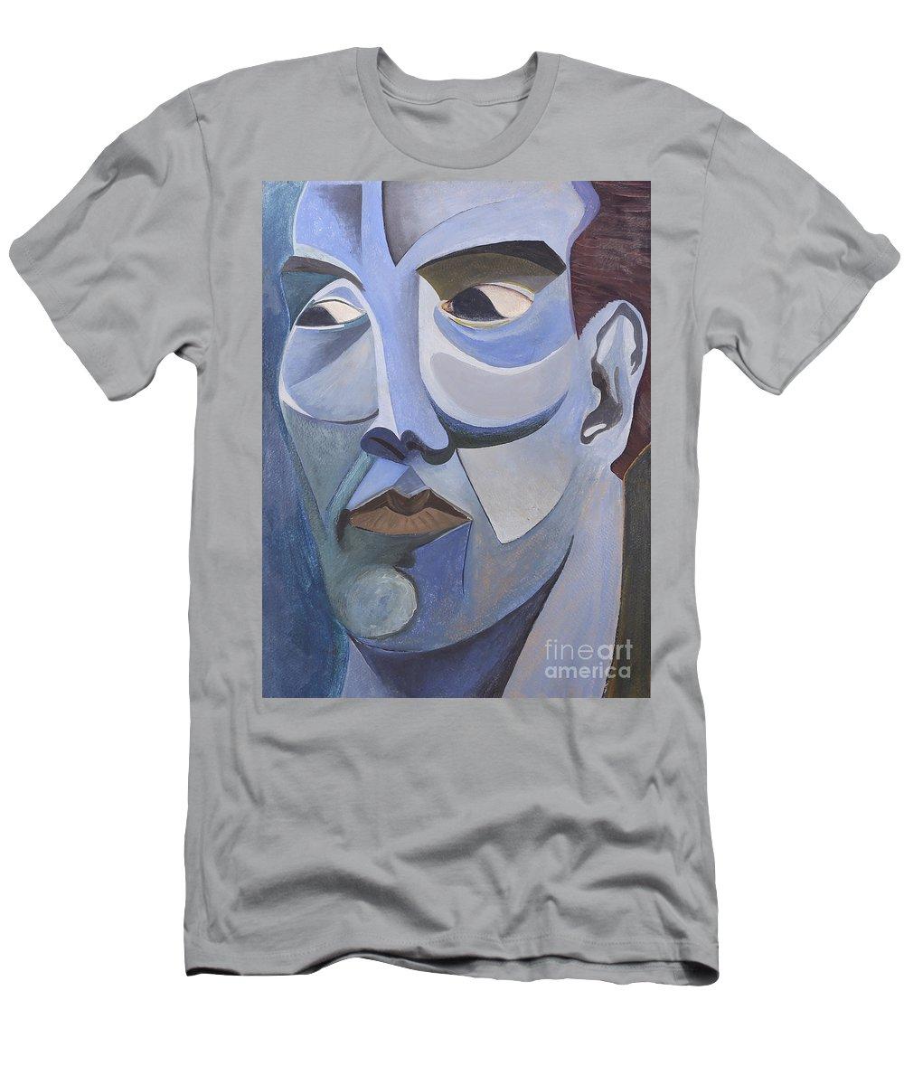 Portrait Men's T-Shirt (Athletic Fit) featuring the painting Portrait In Blue by Aaron Joslin
