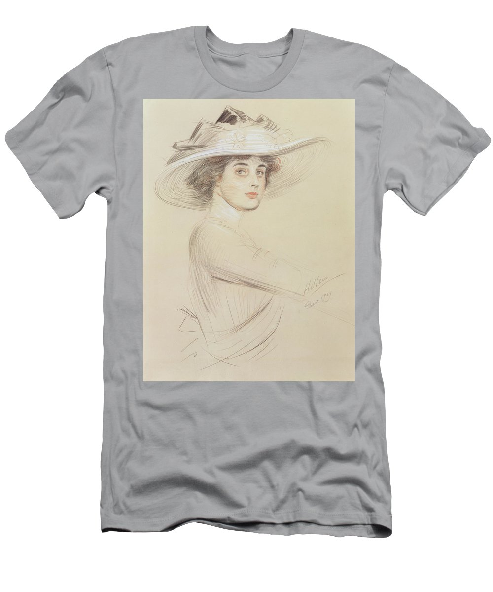 Drawing Men's T-Shirt (Athletic Fit) featuring the drawing Portrait Of A Woman by Paul Cesar Helleu