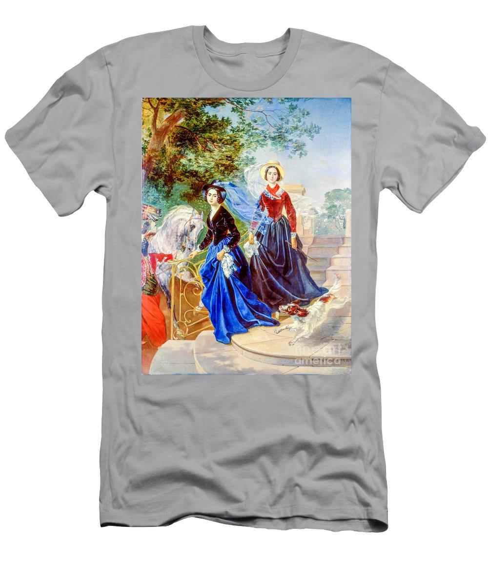Portrait Men's T-Shirt (Athletic Fit) featuring the painting Portrait Of Sisters Shishmarev by Viktor Birkus