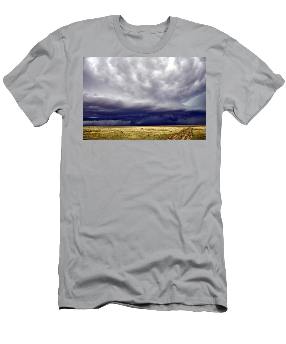 Landscape Men's T-Shirt (Athletic Fit) featuring the photograph Prairie Storm by Pam Romjue