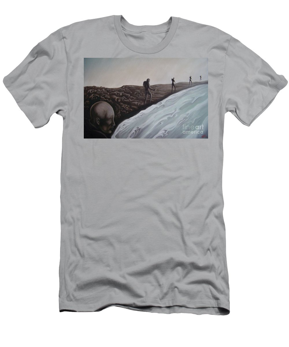 Tmad Men's T-Shirt (Athletic Fit) featuring the painting Premonition by Michael TMAD Finney