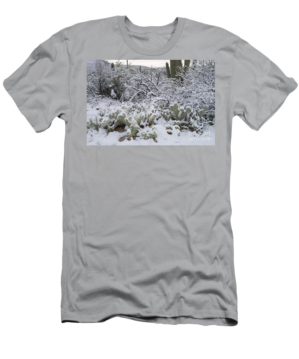 Nature Men's T-Shirt (Athletic Fit) featuring the photograph Prickly Pear And Saguaro Cacti by John Shaw