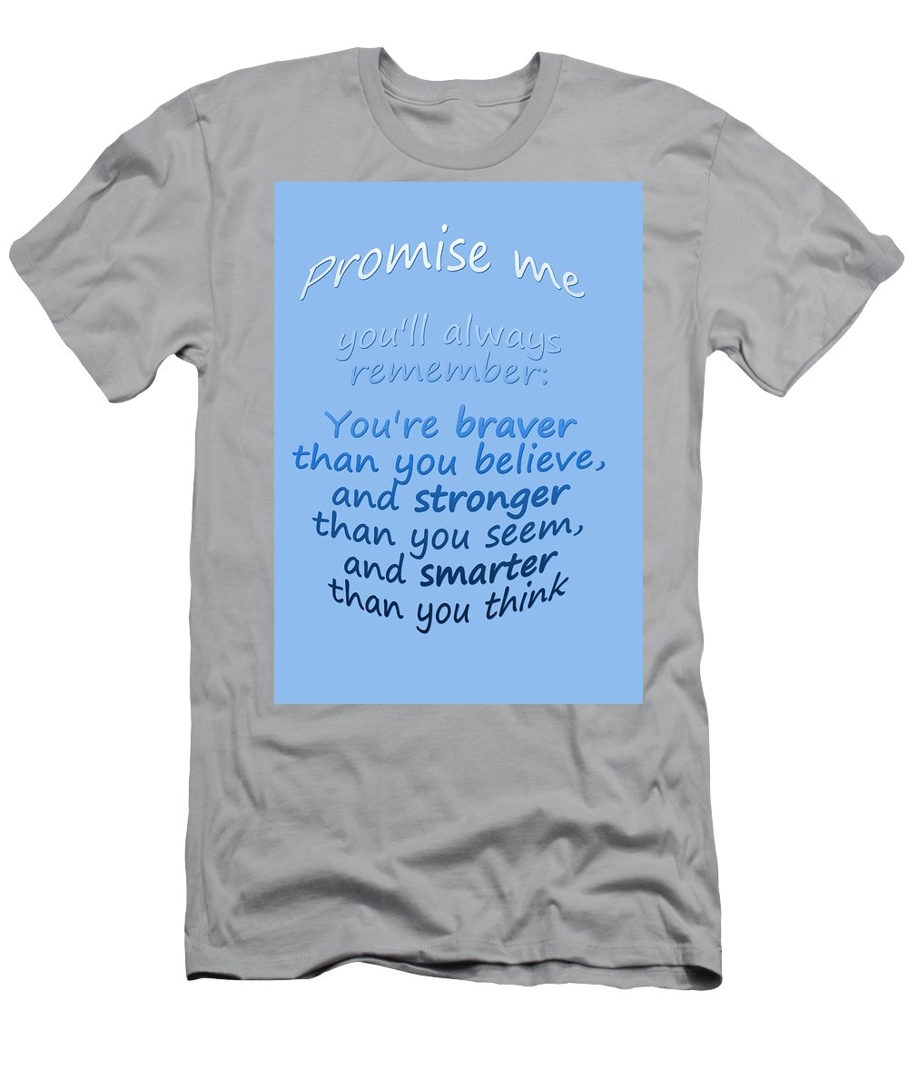 Winnie The Pooh Men's T-Shirt (Athletic Fit) featuring the digital art Promise Me - Winnie The Pooh - Blue by Georgia Fowler