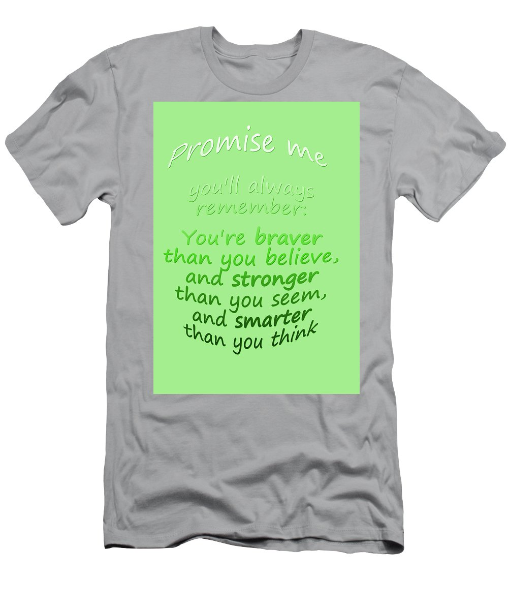 Winnie The Pooh Men's T-Shirt (Athletic Fit) featuring the digital art Promise Me - Winnie The Pooh - Green by Georgia Fowler
