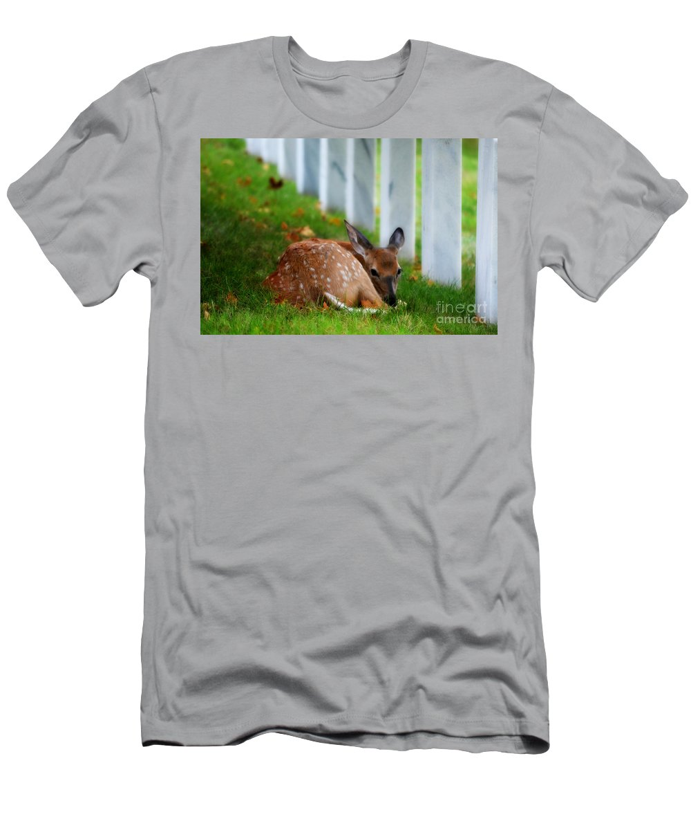 Landscape Men's T-Shirt (Athletic Fit) featuring the photograph Protecting Our Heros by Peggy Franz