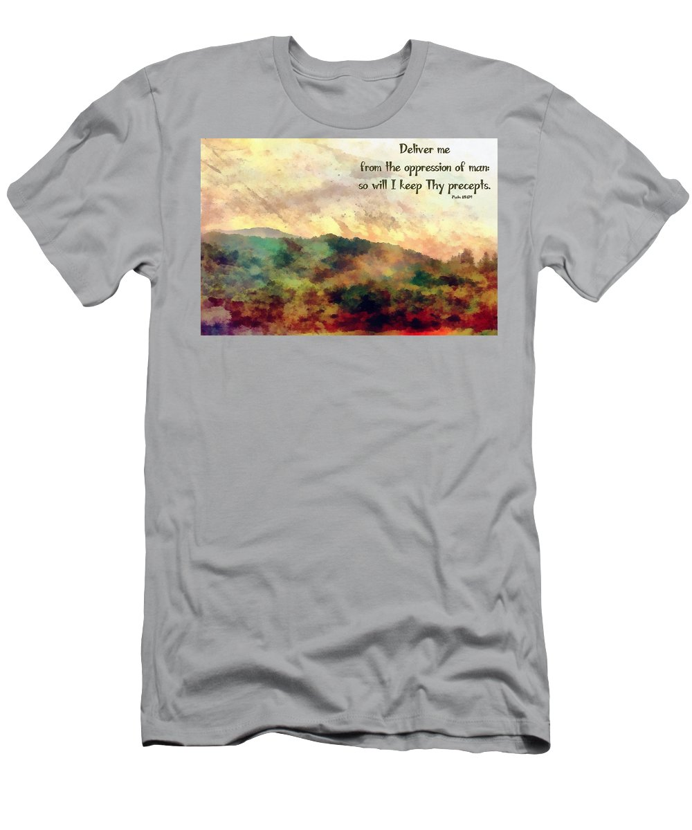 Jesus Men's T-Shirt (Athletic Fit) featuring the digital art Psalm 119 134 by Michelle Greene Wheeler