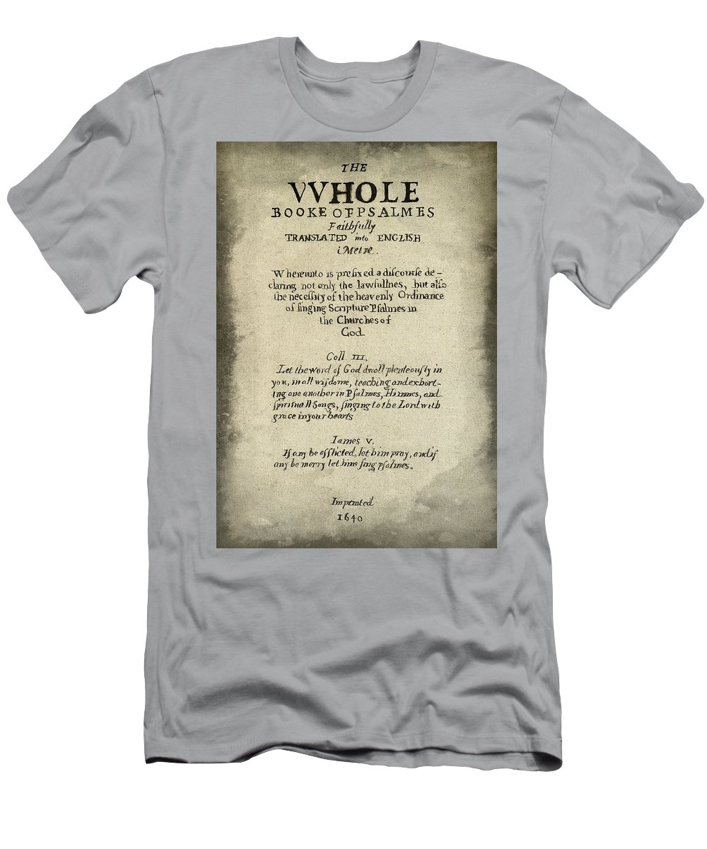 Calligraphy Men's T-Shirt (Athletic Fit) featuring the photograph Psalms Hand Written Book Plate 1640 by Daniel Hagerman
