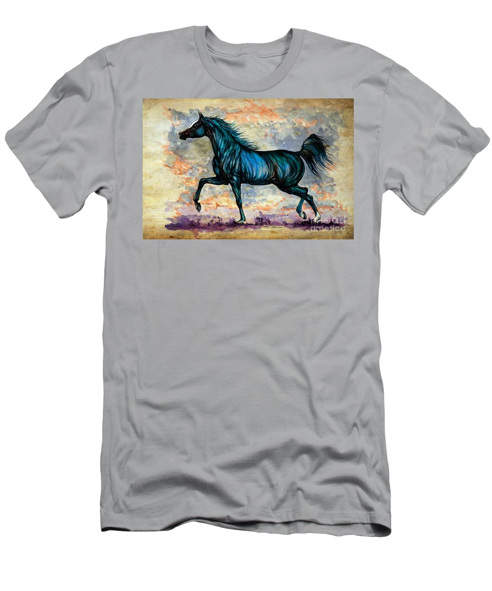Horse Men's T-Shirt (Athletic Fit) featuring the painting Psychedelic Blue by Angel Ciesniarska