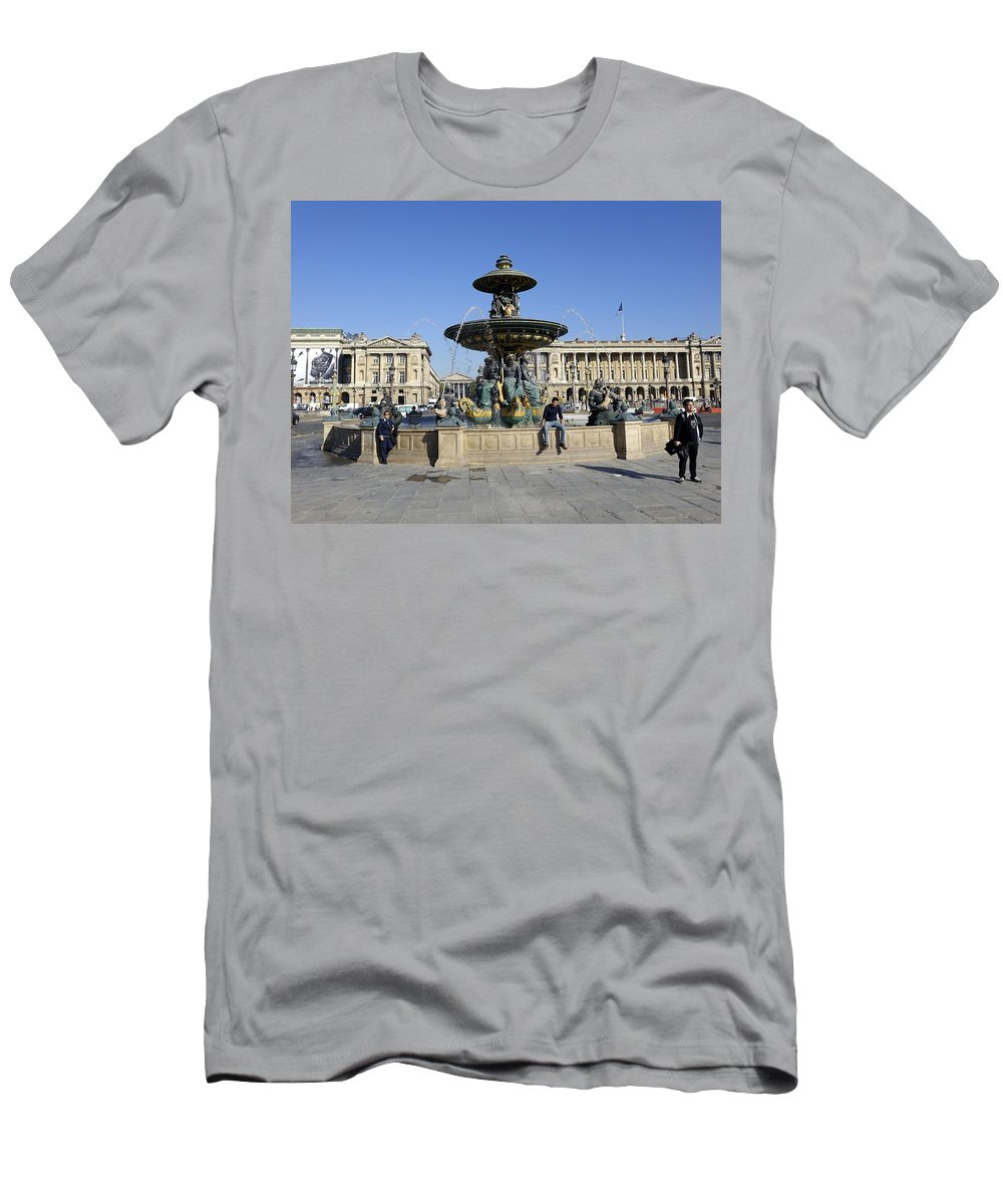 Paris Men's T-Shirt (Athletic Fit) featuring the photograph Public Fountain At The Place De La Concorde by Richard Rosenshein