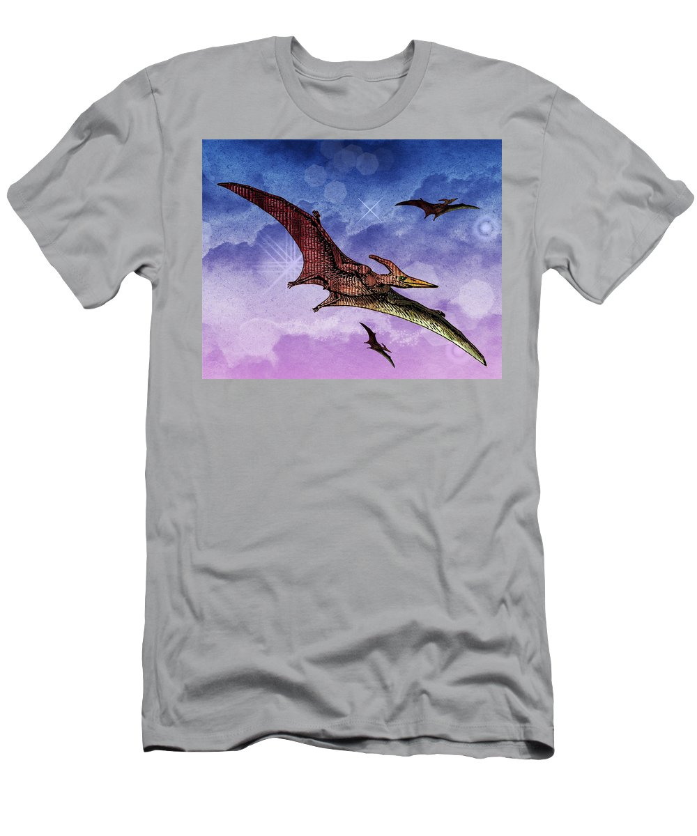 Dinosaur Reptile Prehistoric Pen+and+ink Watercolor Fantasy Imaginary Men's T-Shirt (Athletic Fit) featuring the painting Purple And Green Ptreodactyls Soaring In The Sky by Elaine Plesser