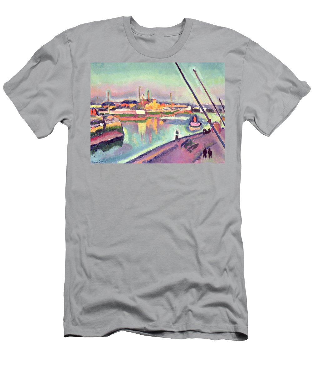 Boat Men's T-Shirt (Athletic Fit) featuring the painting Quai Notre Dame Le Havre by Georges Dupuis
