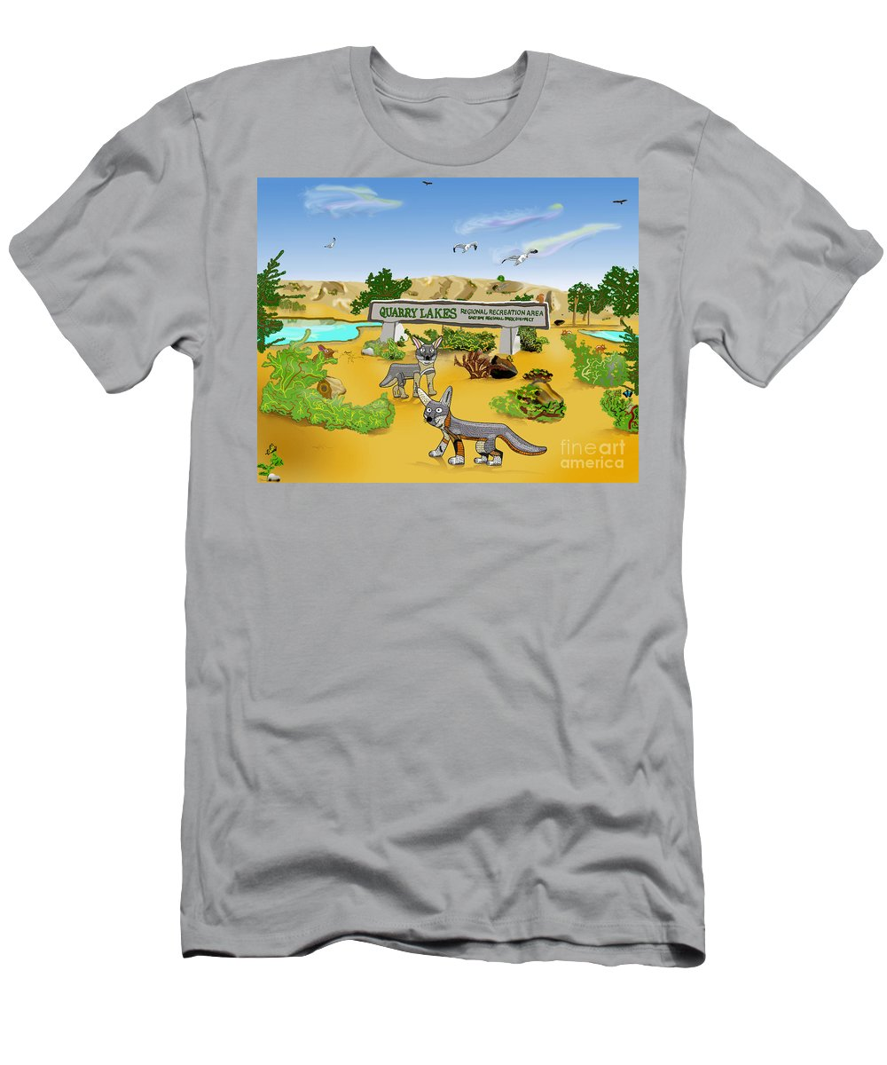 Lakes Men's T-Shirt (Athletic Fit) featuring the mixed media Quarry Lakes And Gray Foxes by Paul Fields
