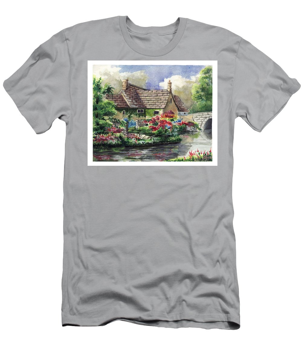 House Men's T-Shirt (Athletic Fit) featuring the painting Quiet House Along The River by Alban Dizdari