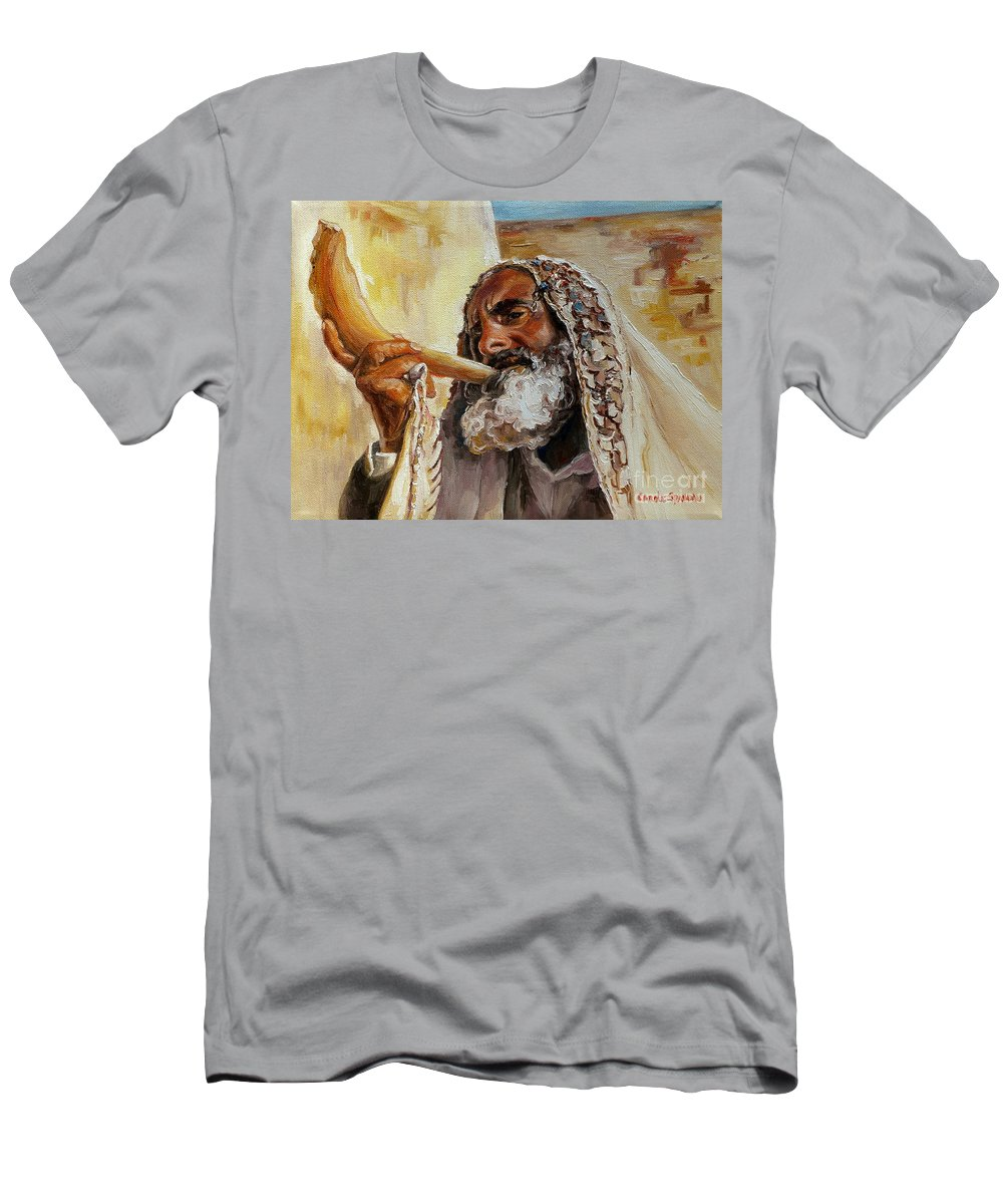 Rabbi Men's T-Shirt (Athletic Fit) featuring the painting Rabbi Blowing Shofar by Carole Spandau