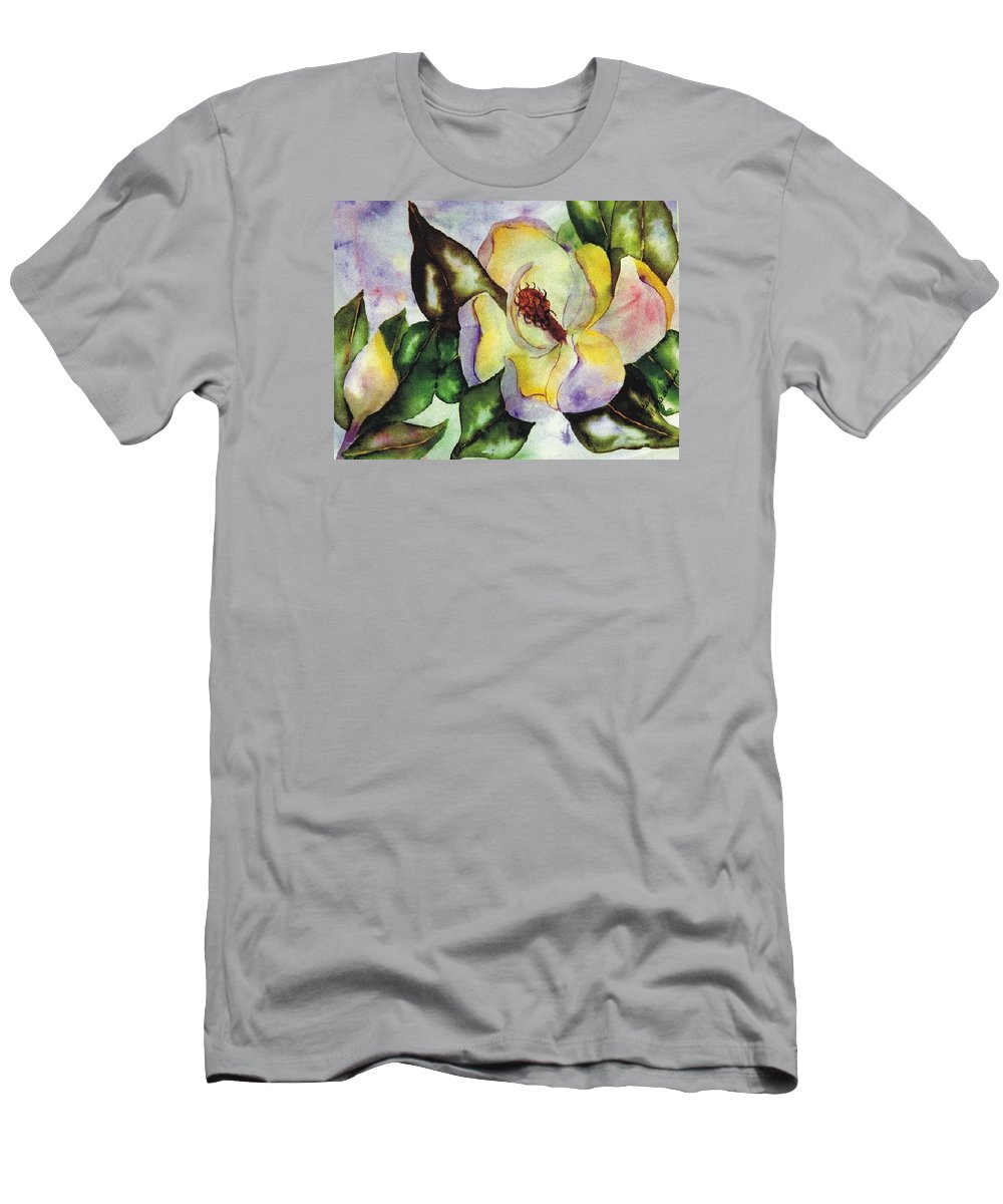 Magnolias Men's T-Shirt (Athletic Fit) featuring the painting Colorful Magnolia by Carol Lindquist