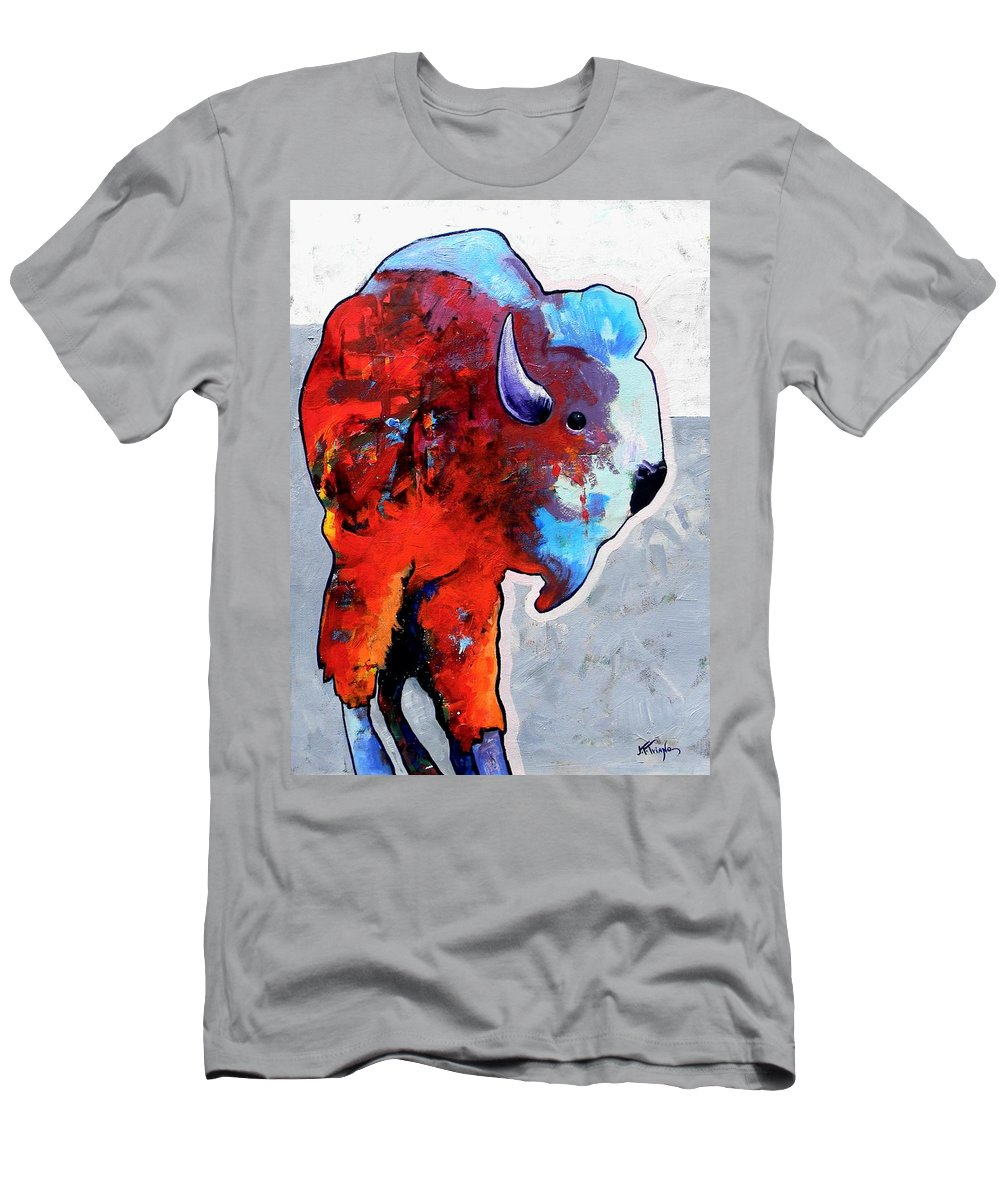 Wildlife Men's T-Shirt (Athletic Fit) featuring the painting Rainbow Warrior Bison by Joe Triano