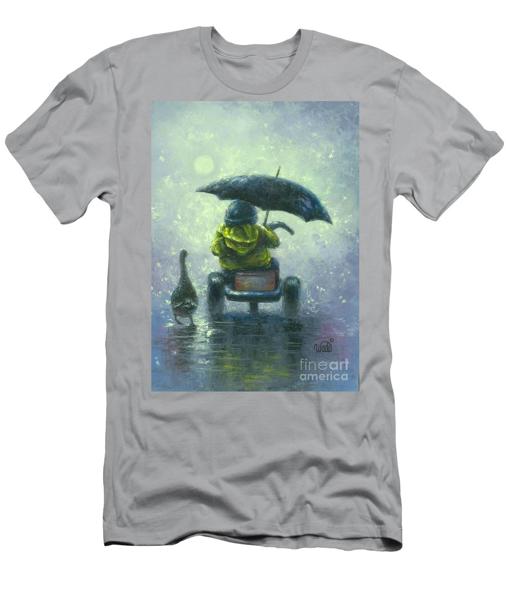 Little Boy Men's T-Shirt (Athletic Fit) featuring the painting Rainy Ride by Vickie Wade