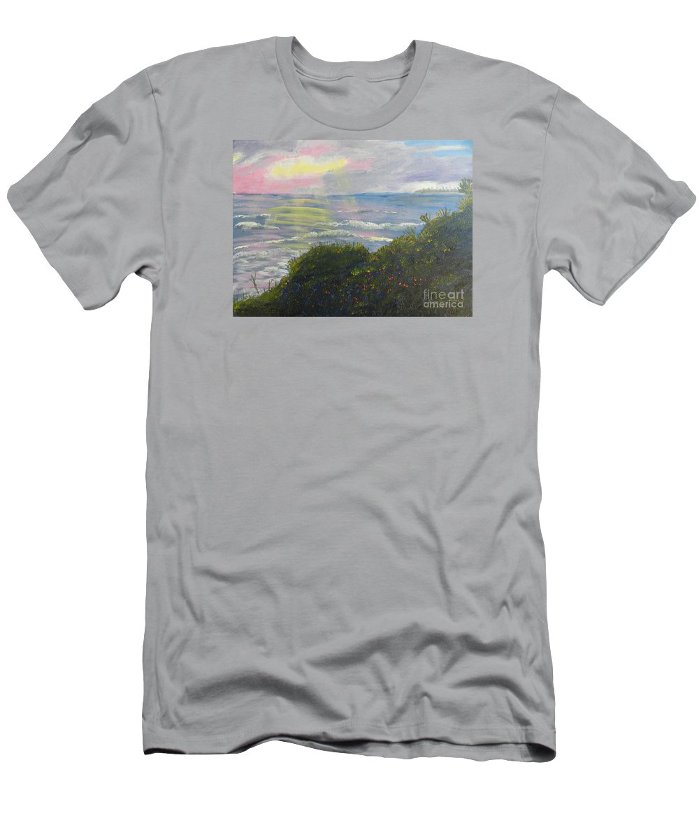 Impressionism Men's T-Shirt (Athletic Fit) featuring the painting Rays Of Light At Burliegh Heads by Pamela Meredith