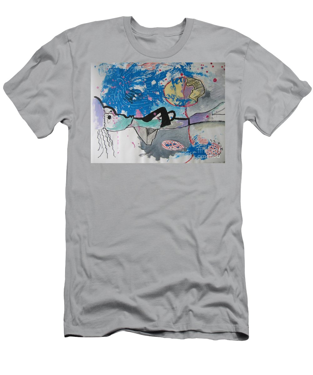Abstract Paintings Men's T-Shirt (Athletic Fit) featuring the painting Read My Mind2 by Seon-Jeong Kim