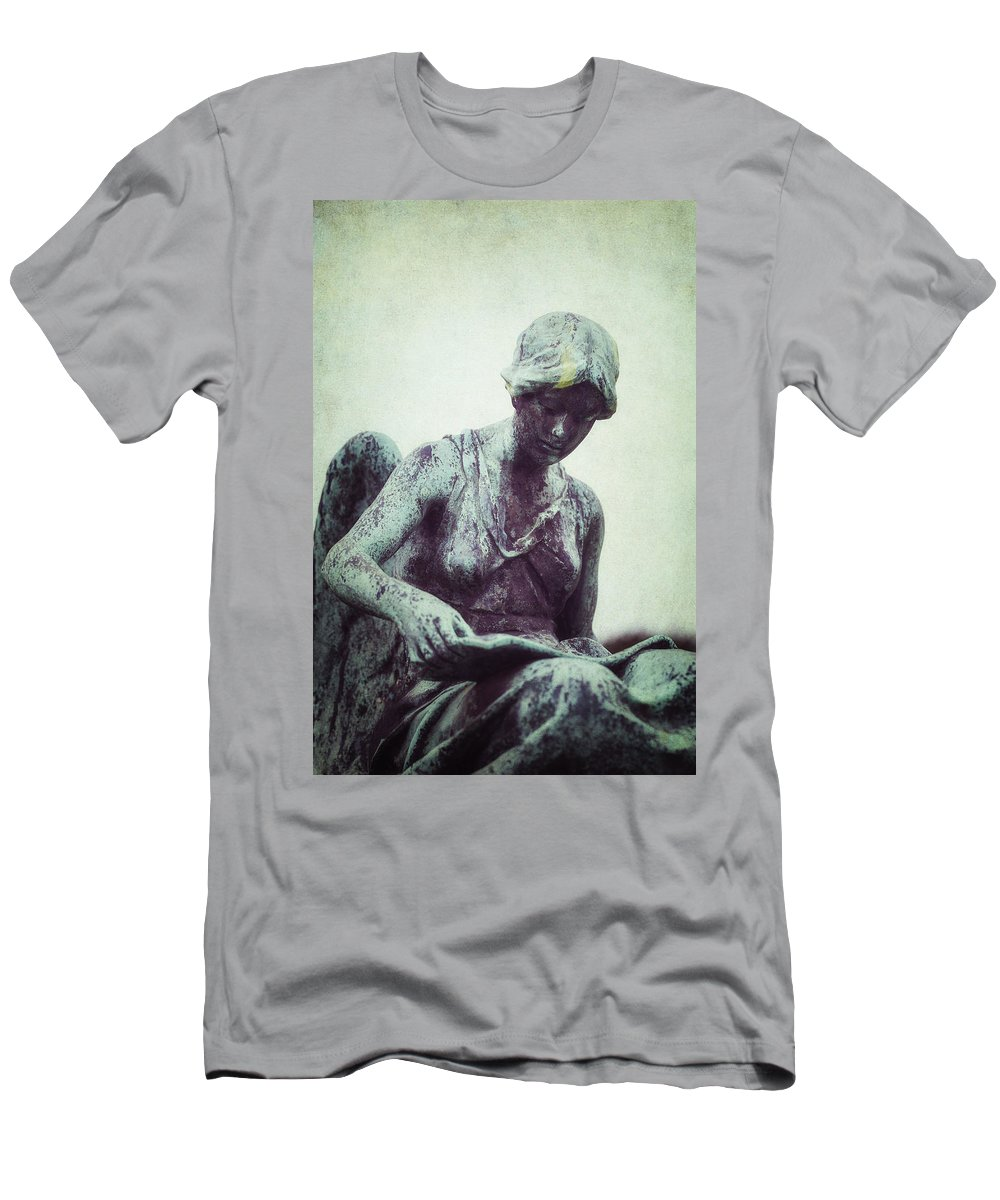 Statue Men's T-Shirt (Athletic Fit) featuring the photograph Reading Angel by Joana Kruse
