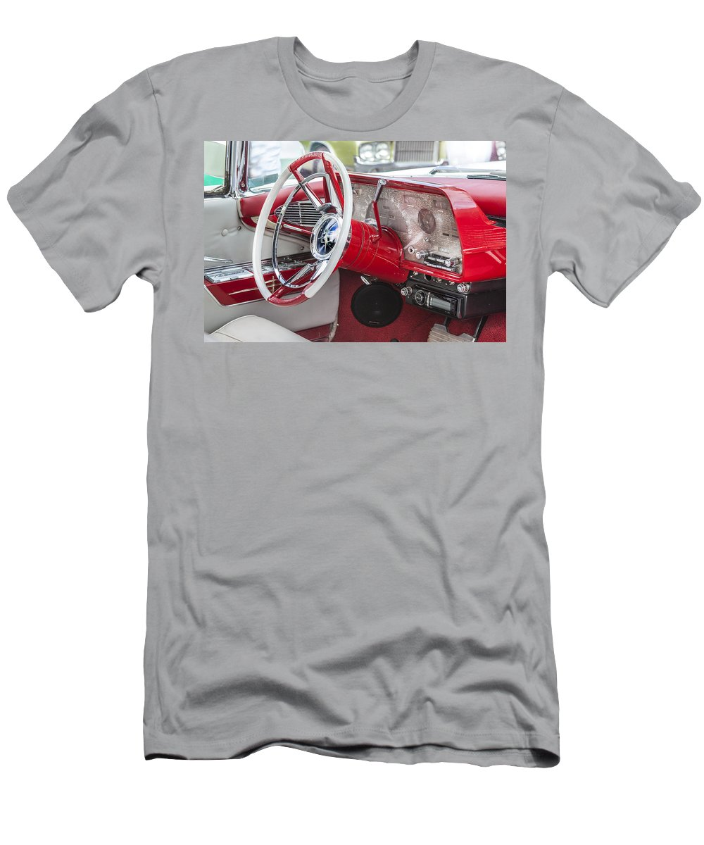 Lincoln Men's T-Shirt (Athletic Fit) featuring the photograph Really Red 1959 Lincoln Interior by Rich Franco