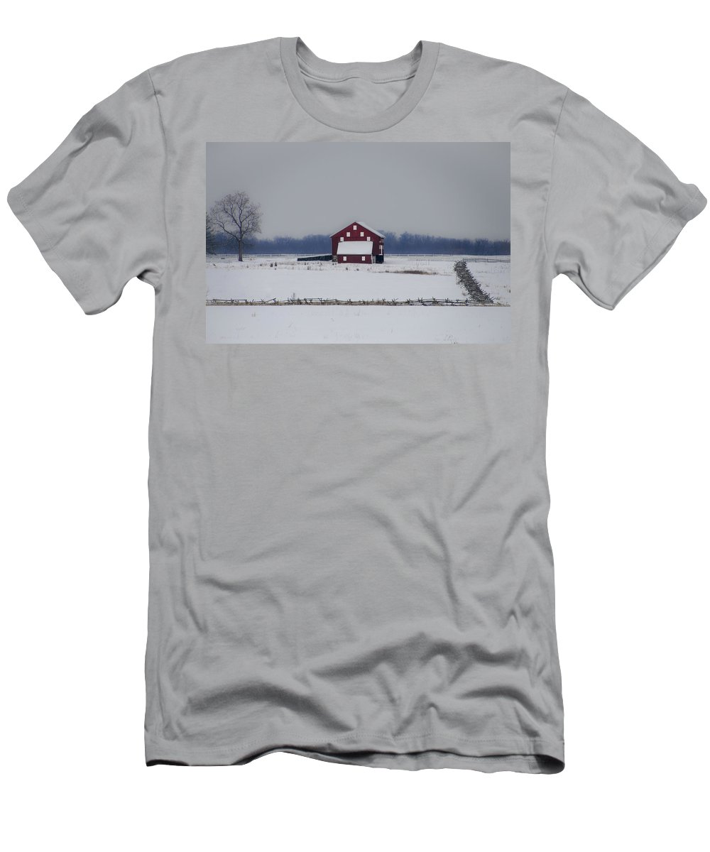 Red Men's T-Shirt (Athletic Fit) featuring the photograph Red Barn In The Snow - Gettysburg by Bill Cannon