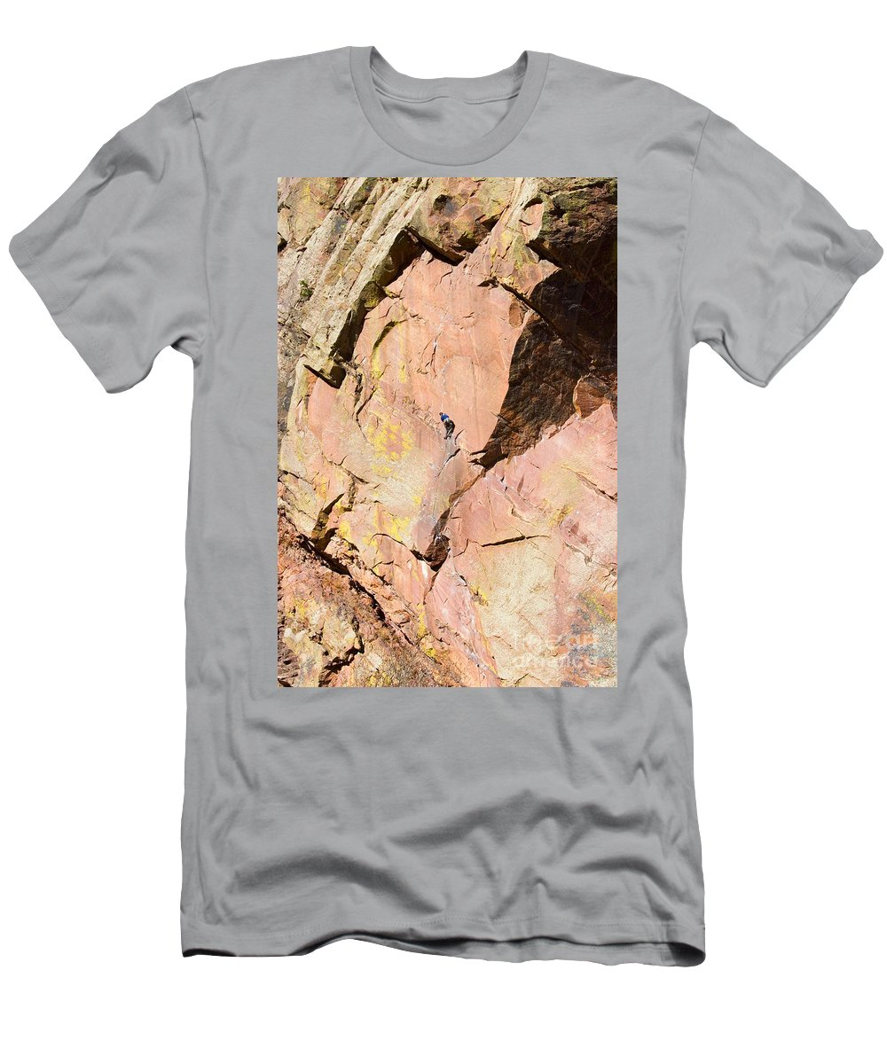 Mountain Climbing Men's T-Shirt (Athletic Fit) featuring the photograph Red Cliff by Steve Krull