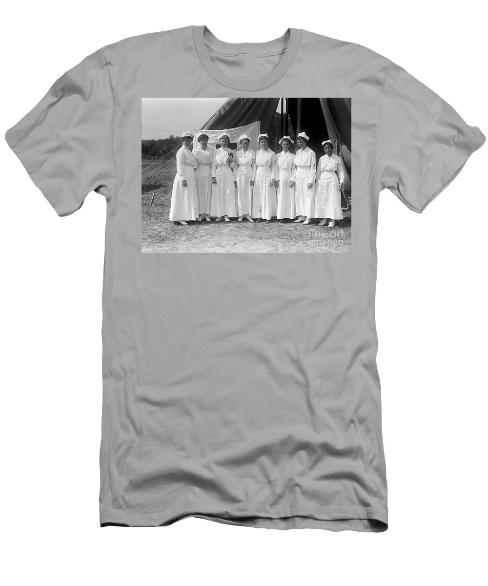 1916 Men's T-Shirt (Athletic Fit) featuring the photograph Red Cross Nurses, 1916 by Granger